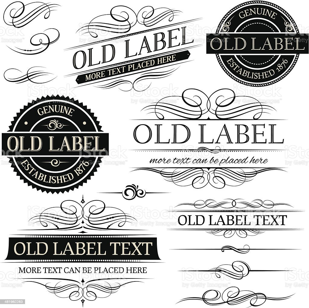 Old vintage labels vector art illustration