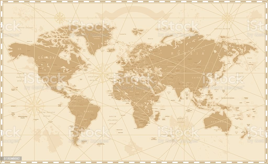Old Vintage Retro World Map vector art illustration