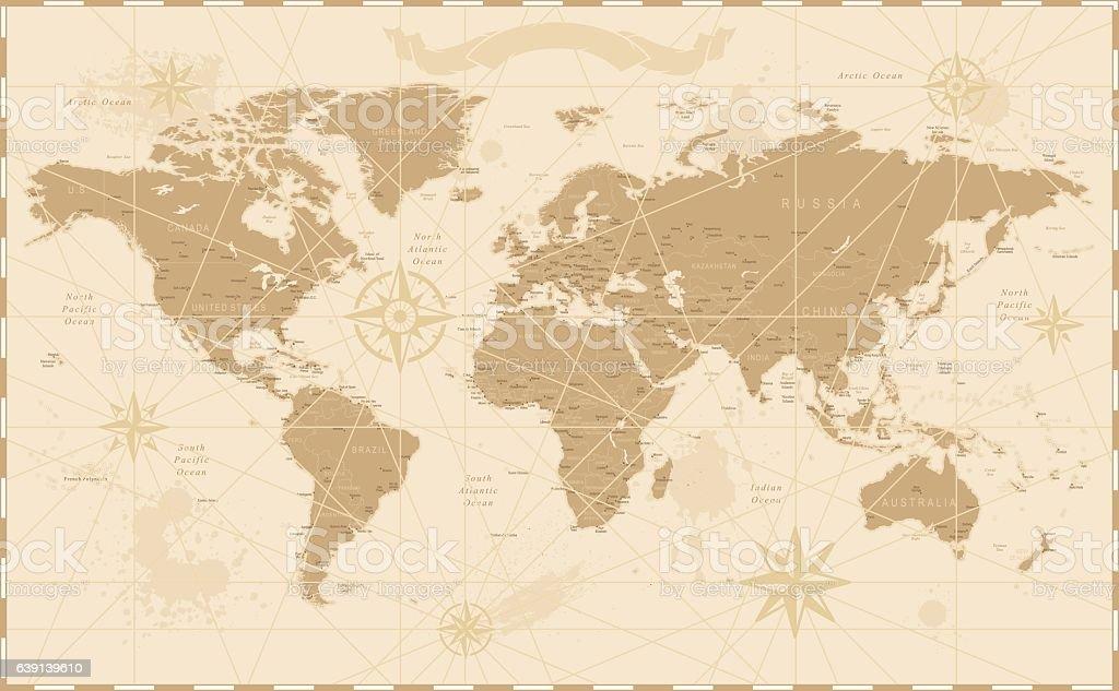 Old Vintage Retro World Map vector art illustration