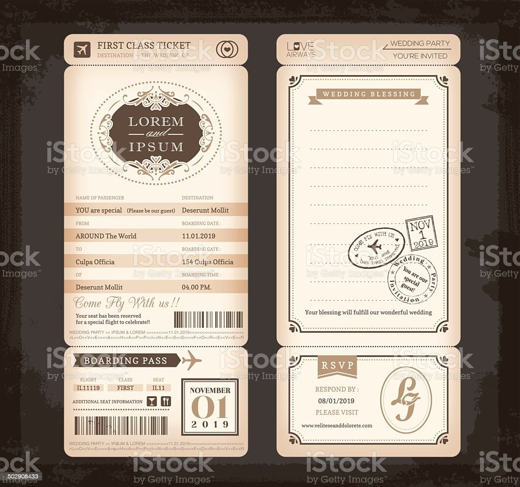Old Vintage style Boarding Pass Ticket Wedding card vector art illustration