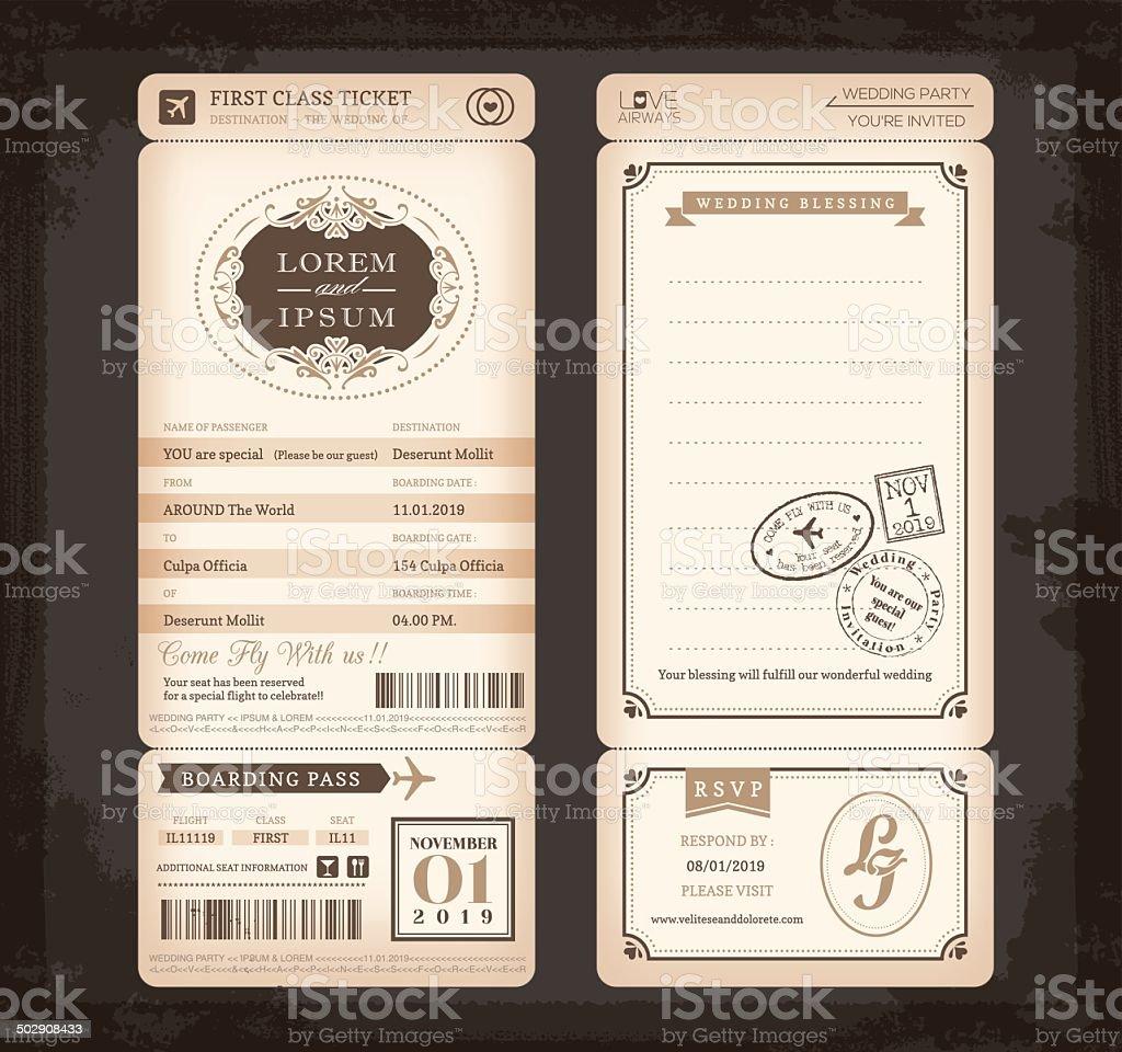 Old Vintage style Boarding Pass Ticket Wedding card vector art illustration