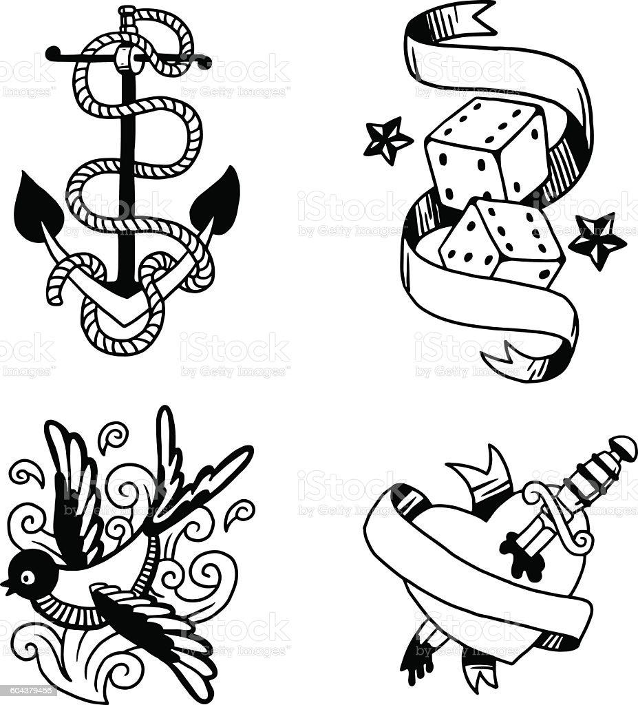 Old vintage tattoo vector illustration vector art illustration