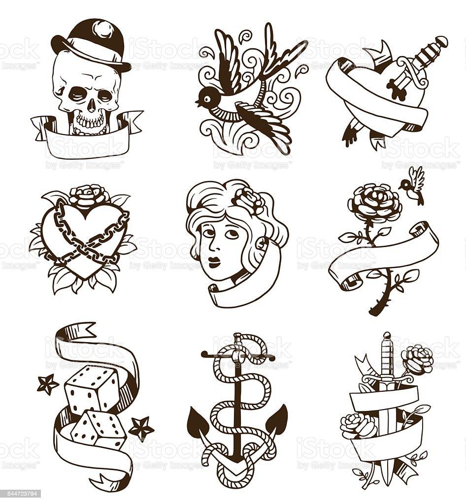 Old vintage tattoo vector set. vector art illustration