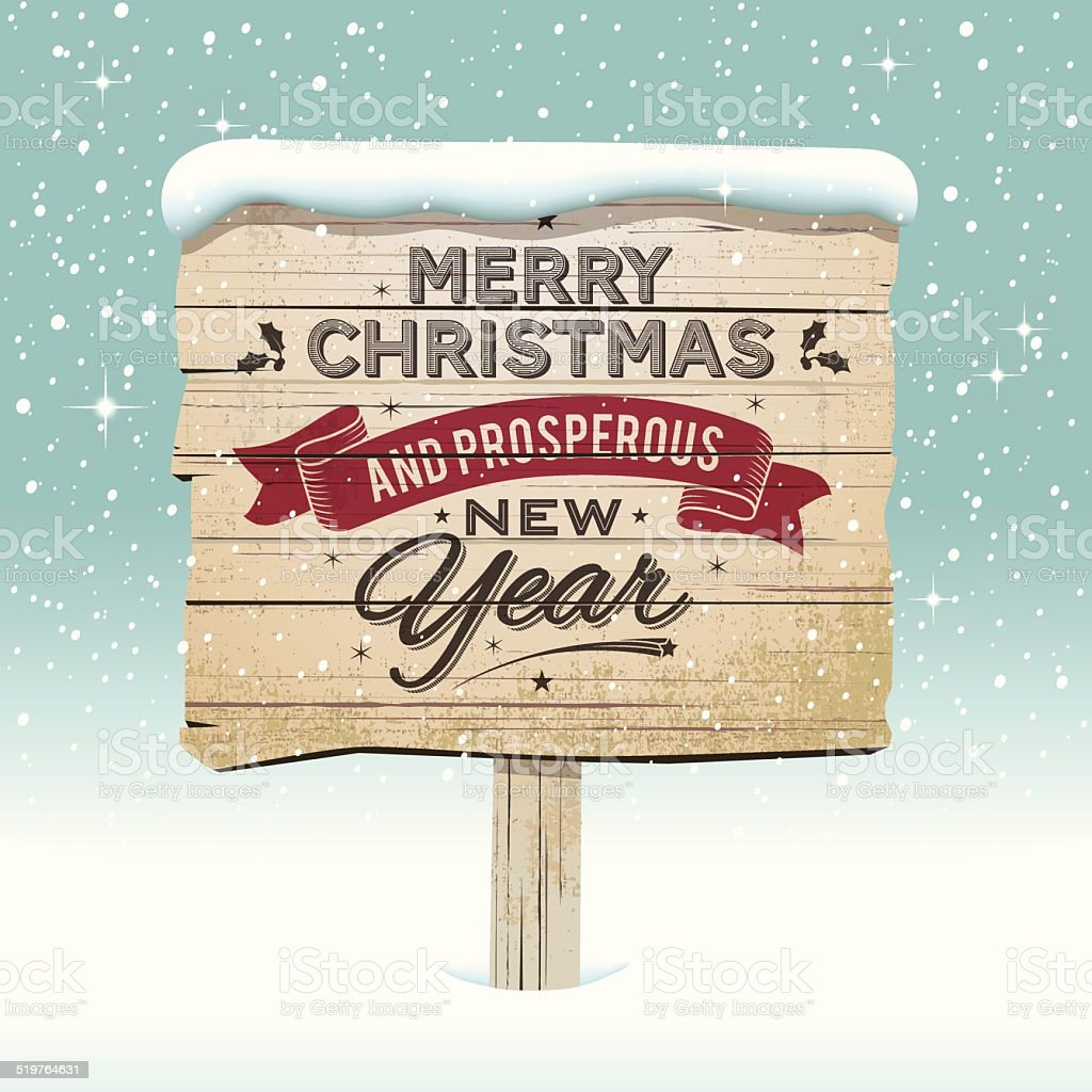 Old vintage wooden Christmas sign in the snow vector art illustration