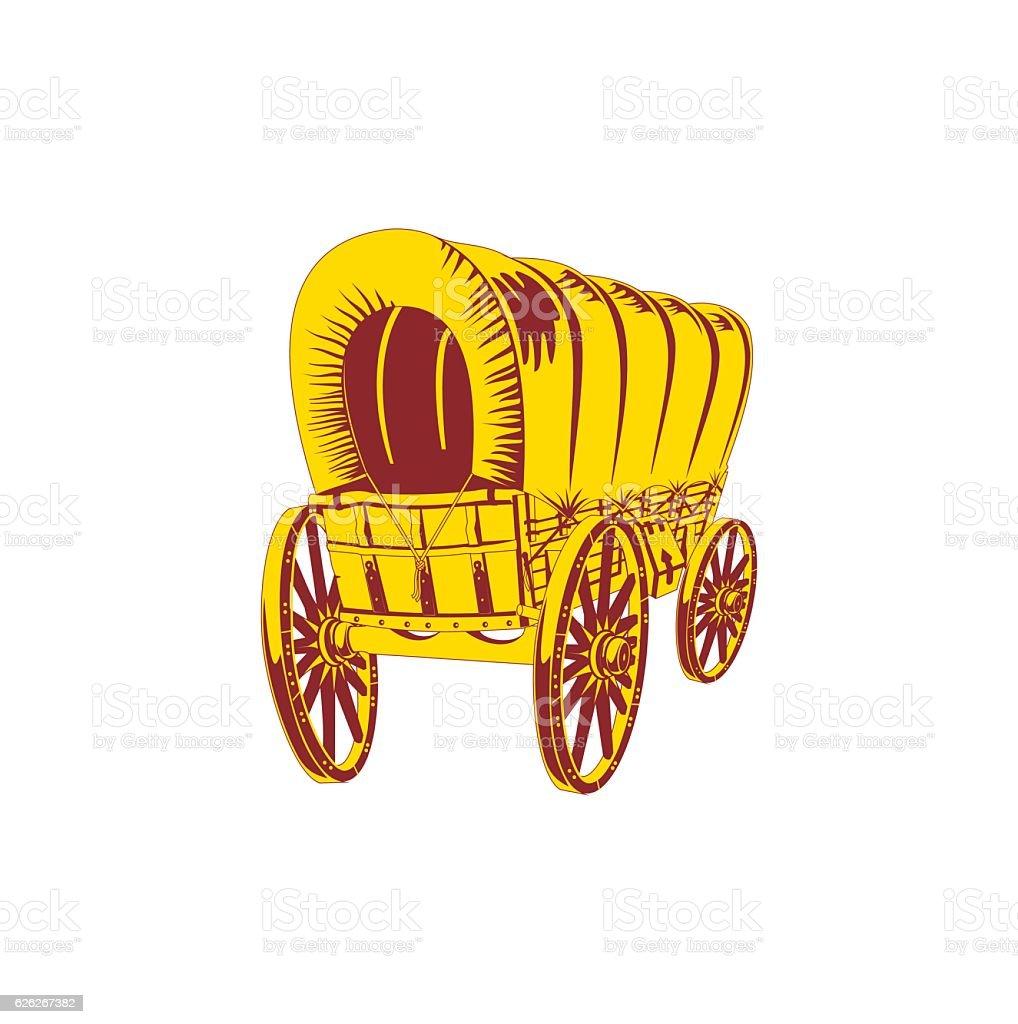 Old wagon. Flat style vector art illustration