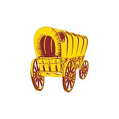 Old wagon. Flat style