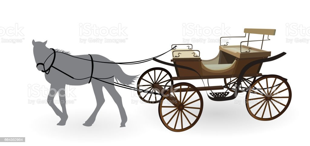 Old Wagon for the Horses. Isolated on White Background vector art illustration