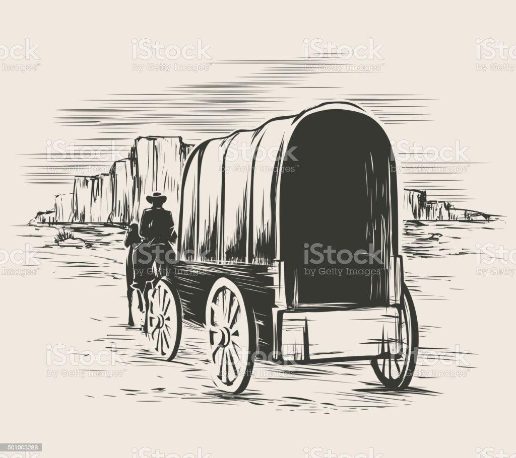 Old wagon in wild west prairies vector art illustration