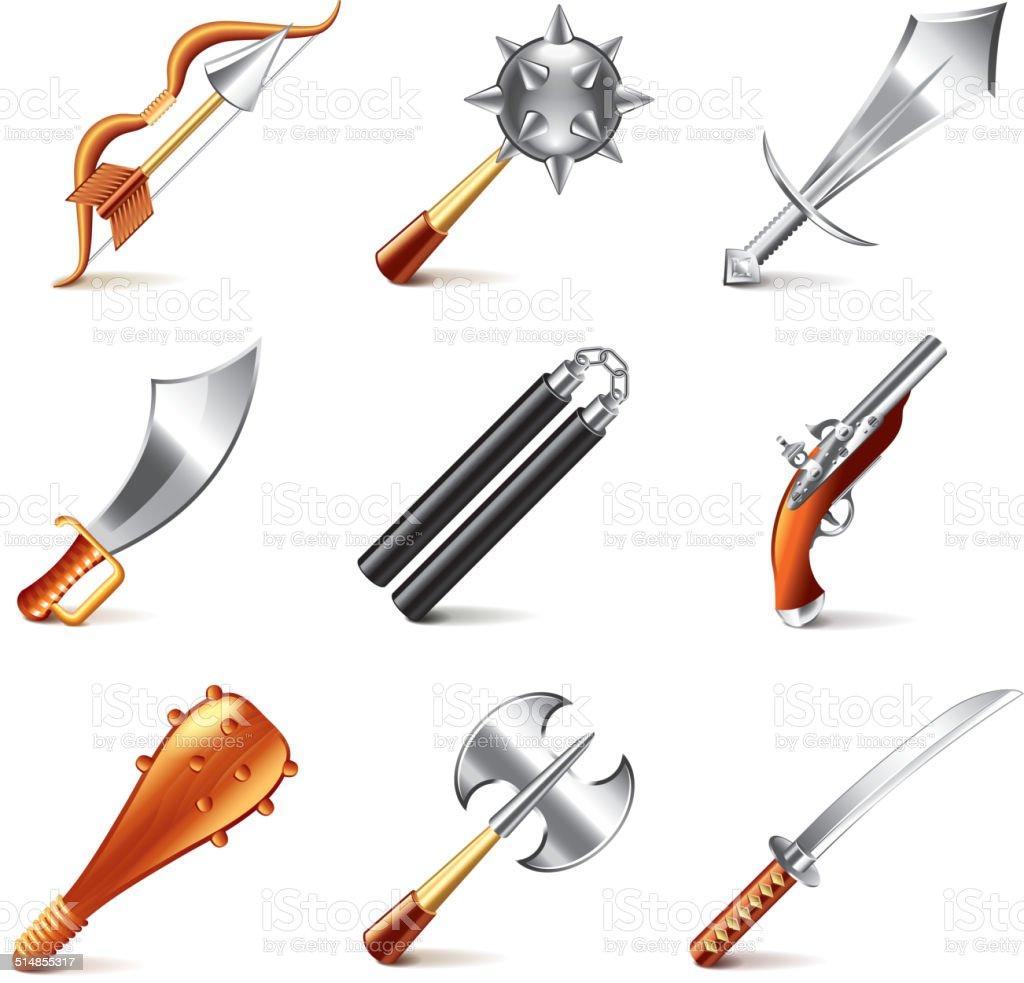 Old weapons for games icons vector set vector art illustration