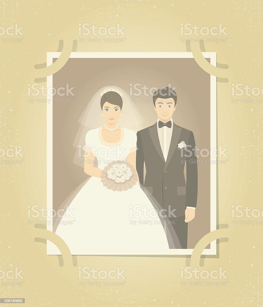 Old Wedding Photo in Family Album vector art illustration