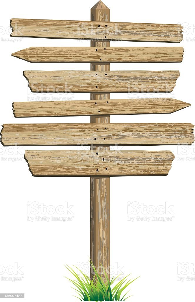 Old West Style Standing Direction Sign Done with Tan Planks royalty-free stock photo