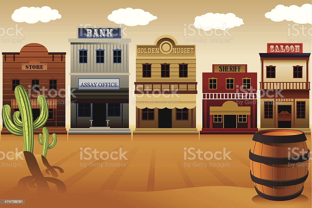 Old western town vector art illustration