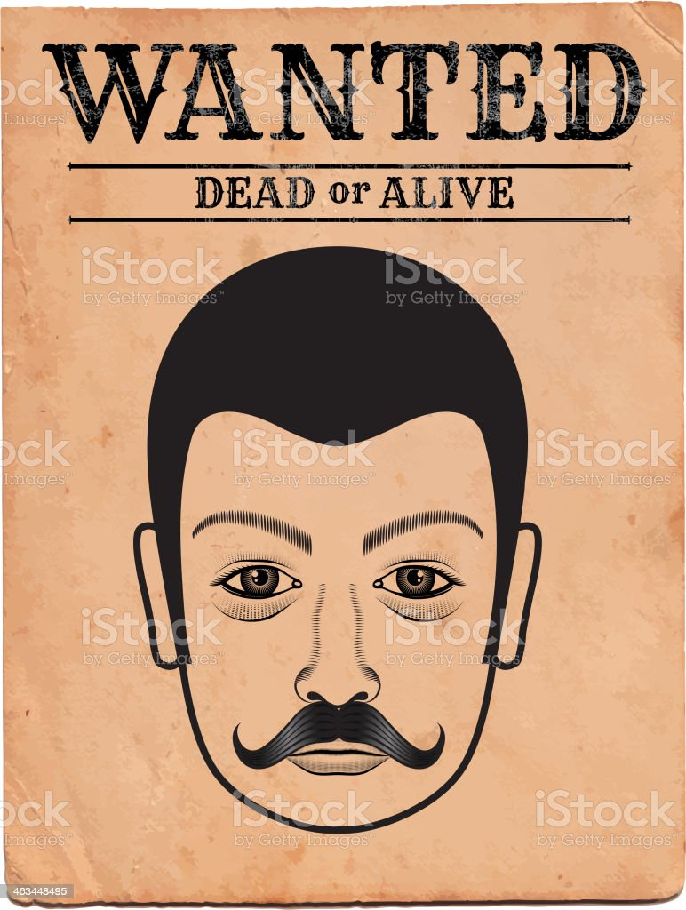 Old Western Wanted Poster on Grunge Background vector art illustration