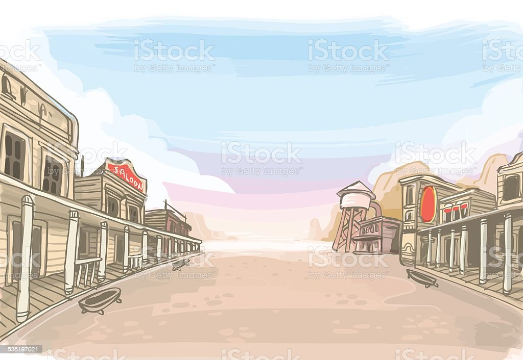 Old Wilde West Scenery vector art illustration