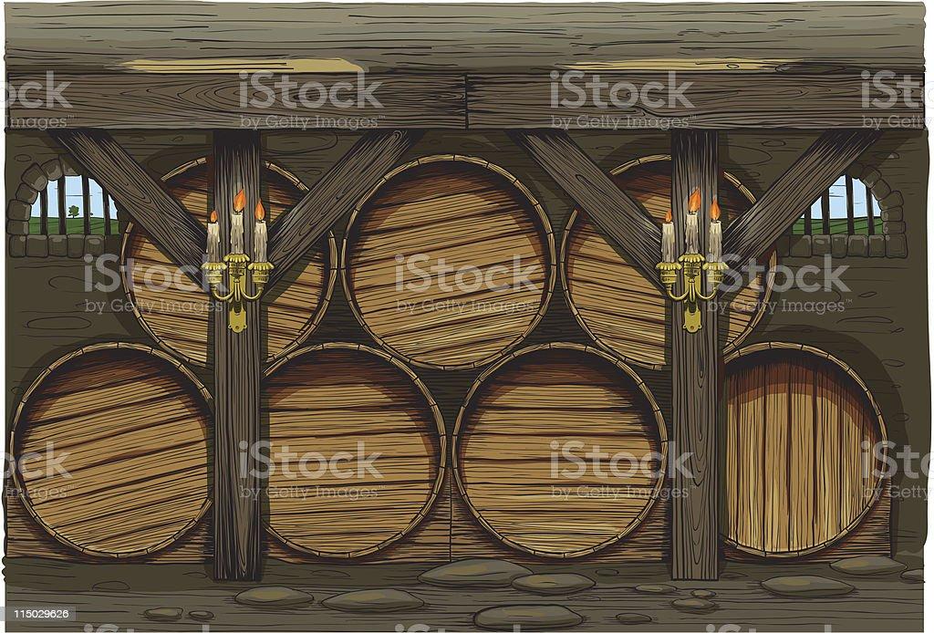 old wine barrels royalty-free stock vector art