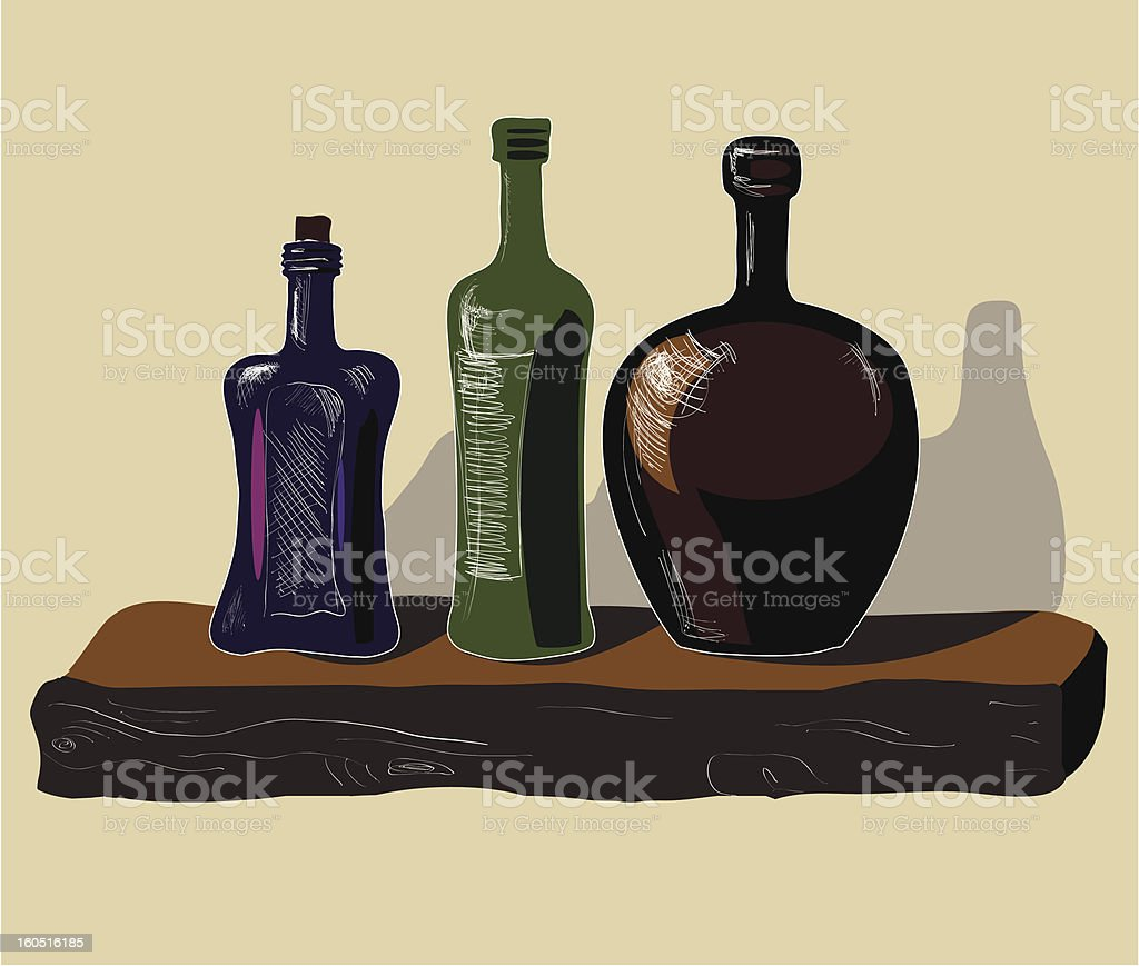 Old wine bottles royalty-free stock vector art