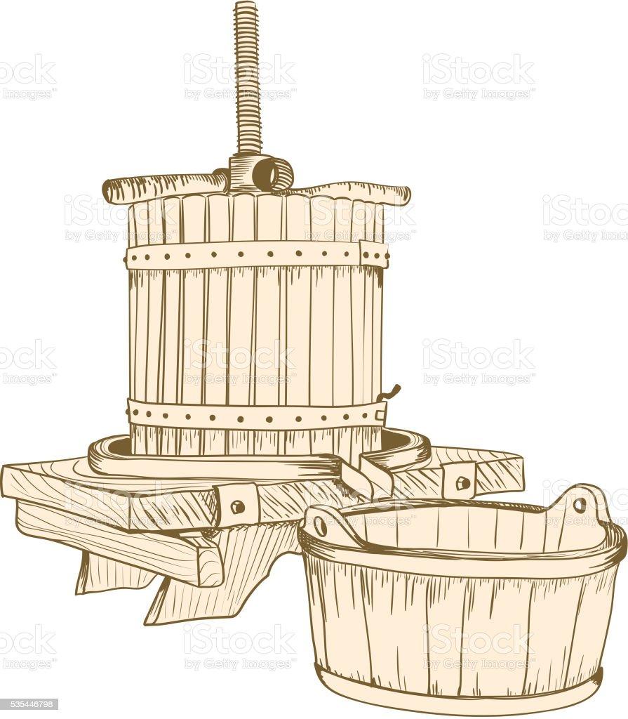 old wine press vector art illustration