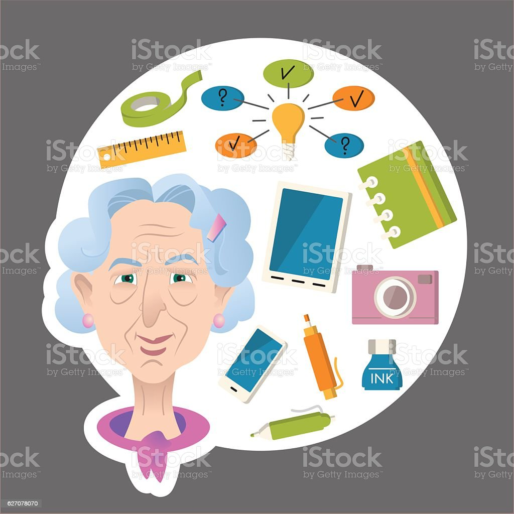 Old woman cartoon character. Old people activities Lifestyle concept...