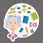Old woman cartoon character. Old people activities Lifestyle