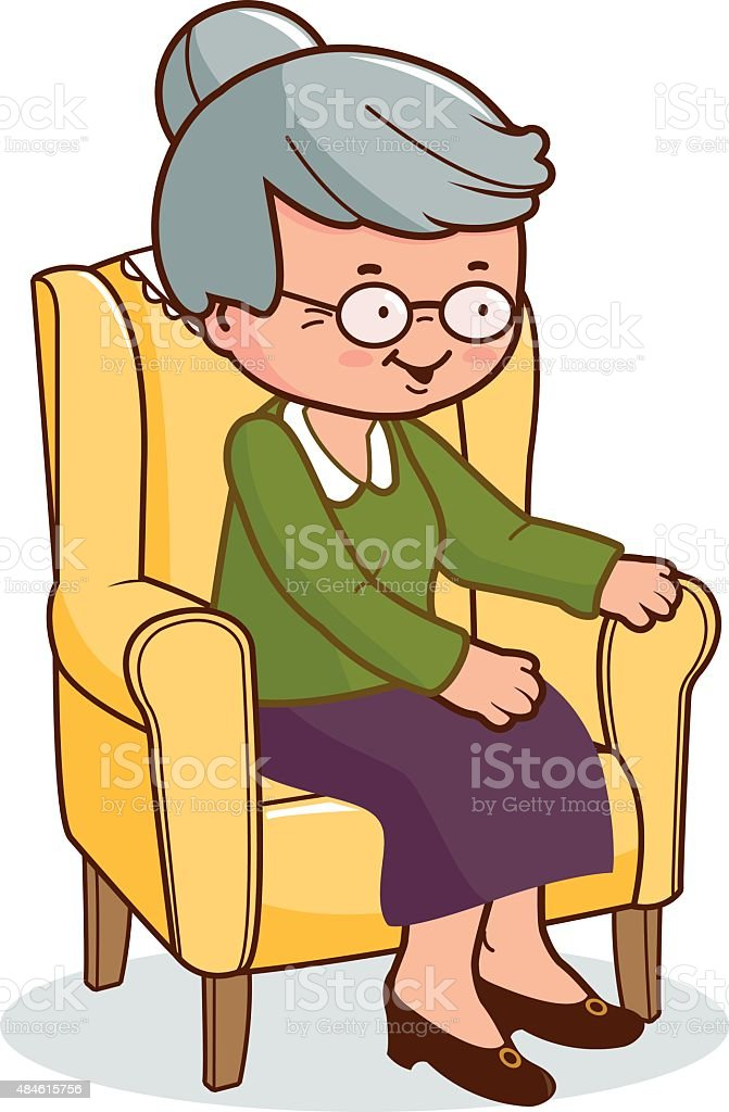 Old woman sitting in armchair vector art illustration