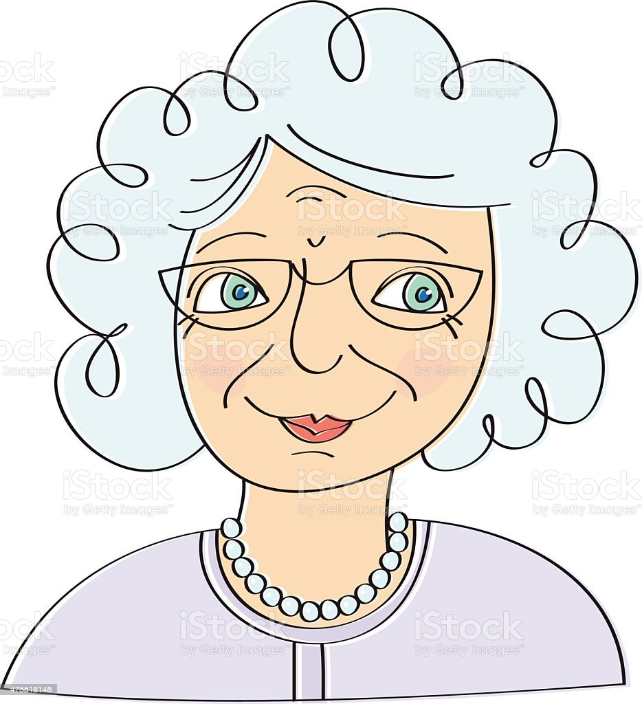 Old woman vector art illustration