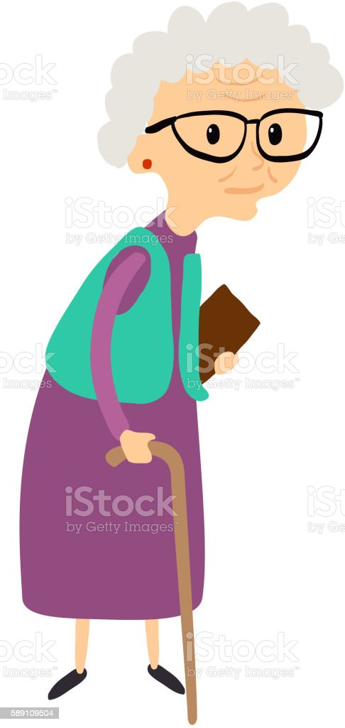 Old woman with cane. Senior lady with glasses walking. Vector. vector art illustration