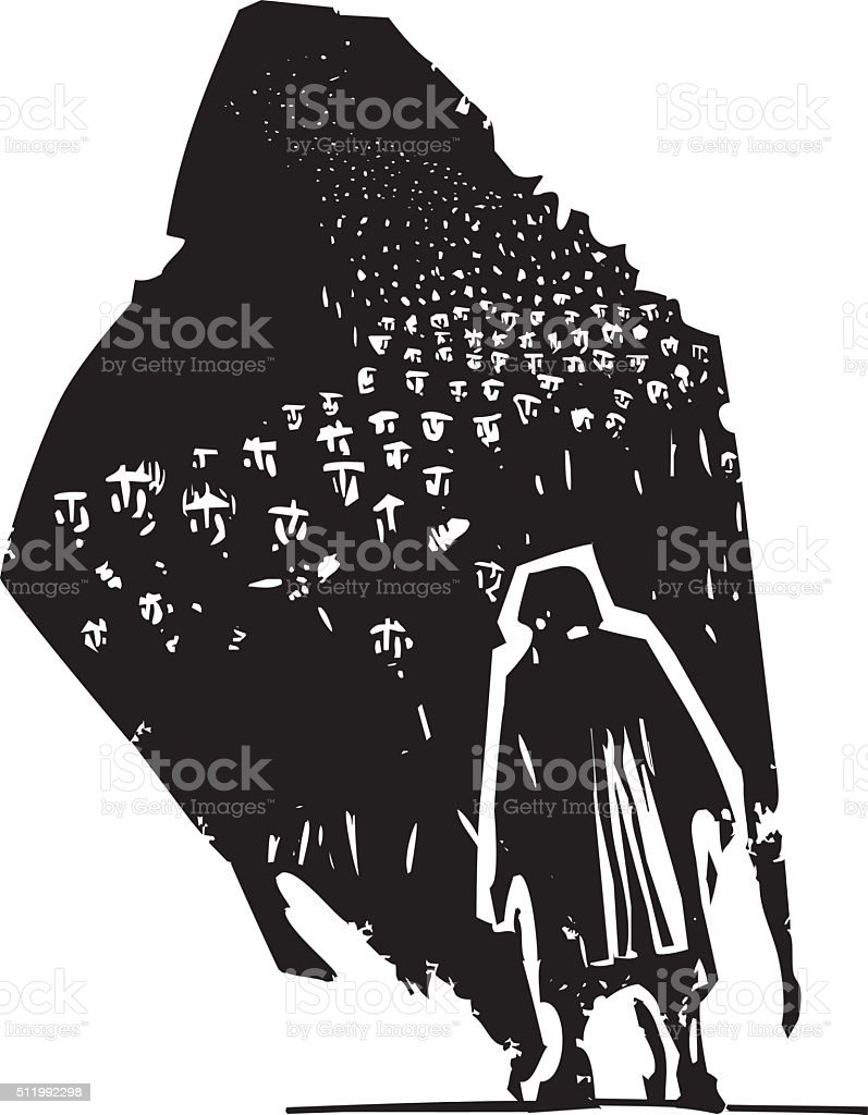 Old Woman with shadow of refugees vector art illustration