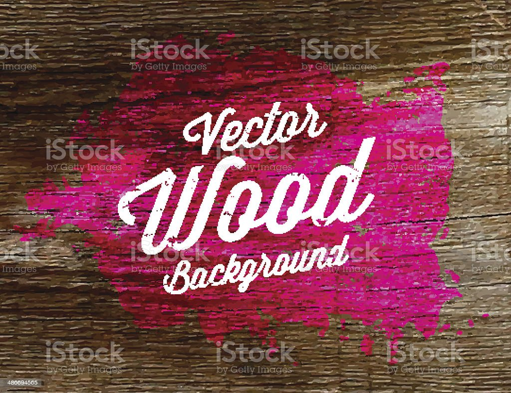 Old wood background texture, with watercolor stain. vector art illustration