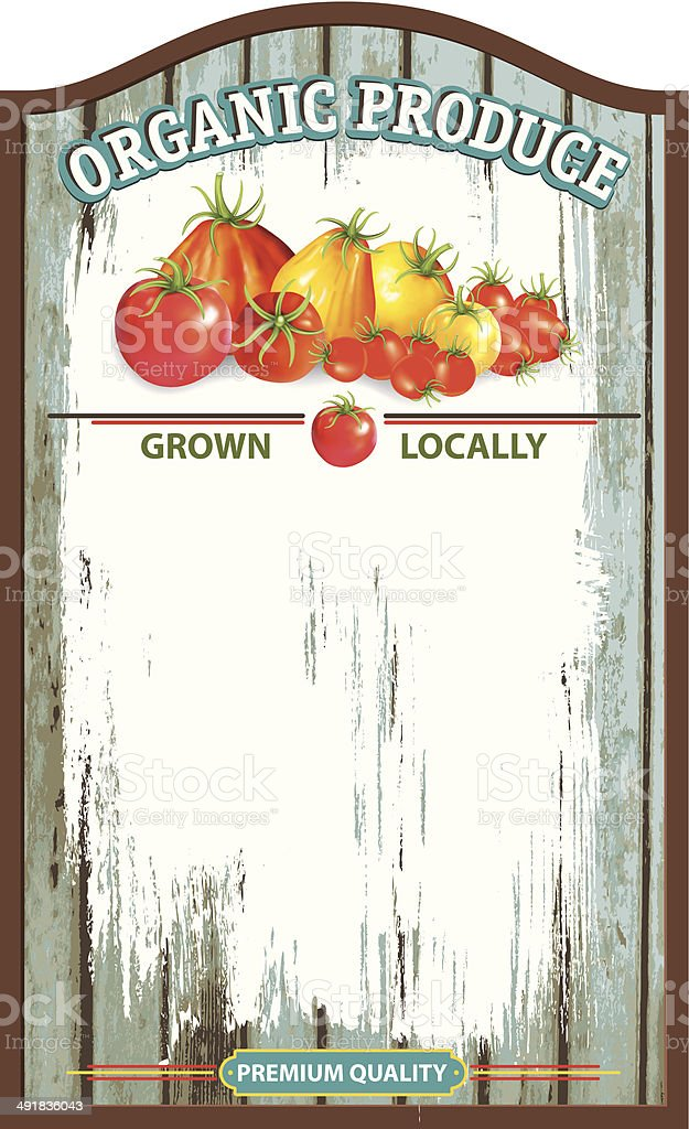 Old Wood Farm Market Sign Board vector art illustration