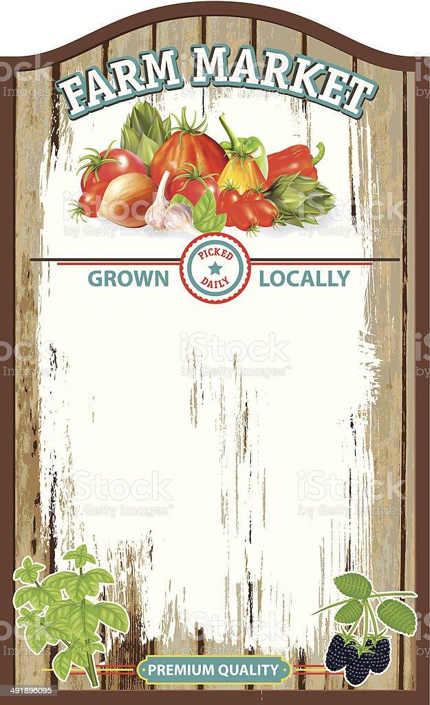 Old Wood Farm Market Sign Board vector art illustration