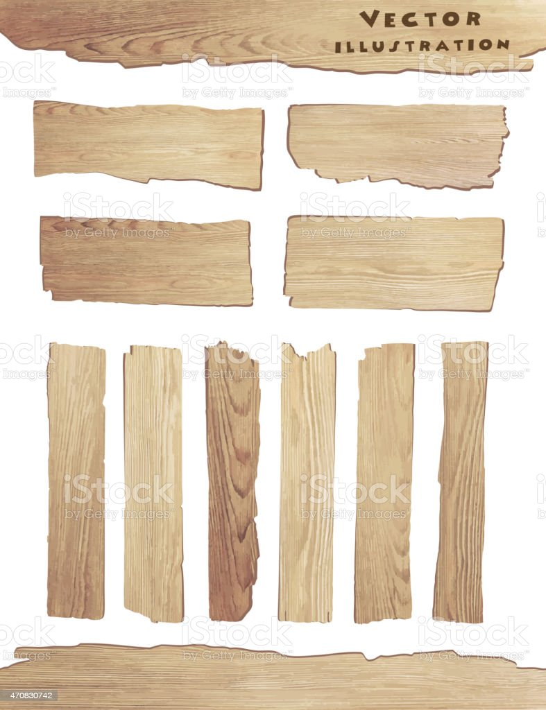 Old Wood plank isolated on white background vector art illustration