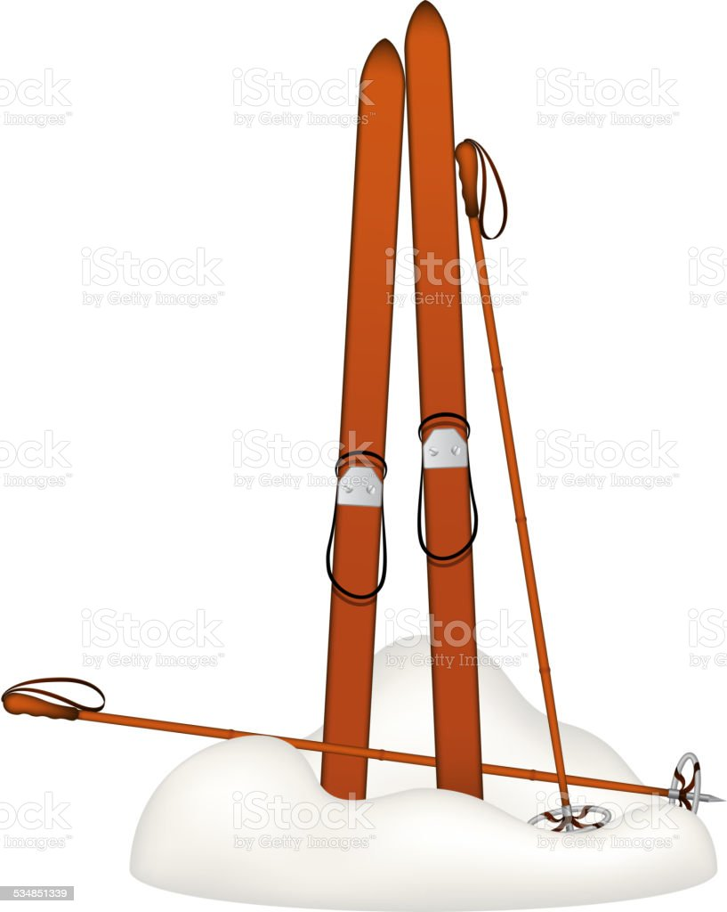 Old wooden alpine skis and old ski poles vector art illustration