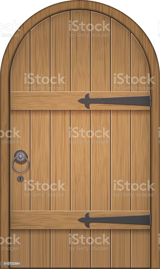 old wooden arch door vector art illustration