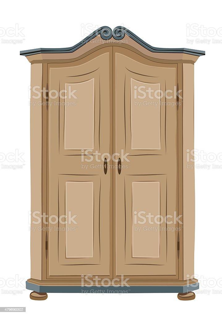 Old wooden cabinet vector art illustration