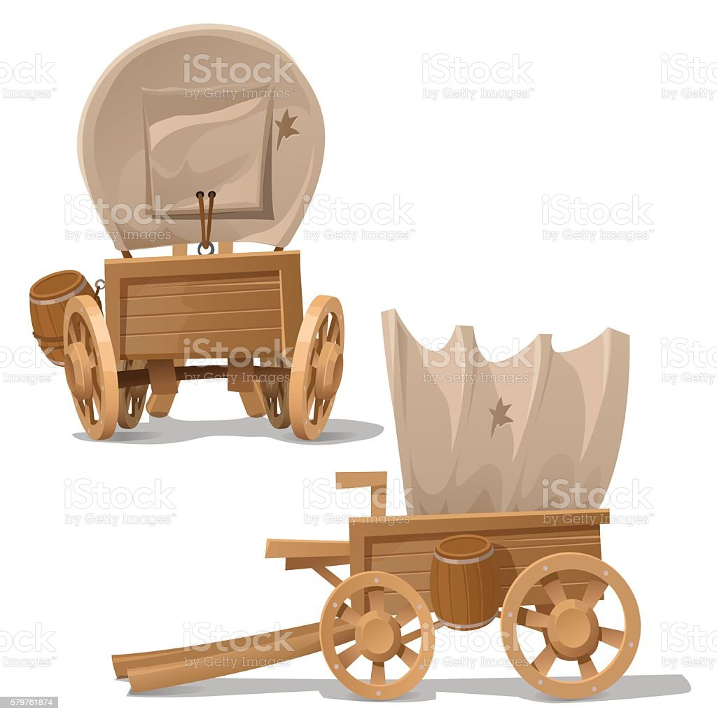 Old wooden cart with shot through canopy vector art illustration
