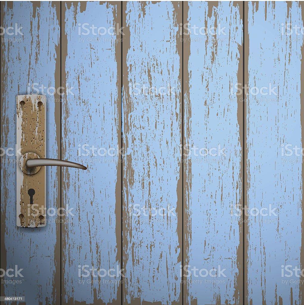 Old wooden door vector art illustration