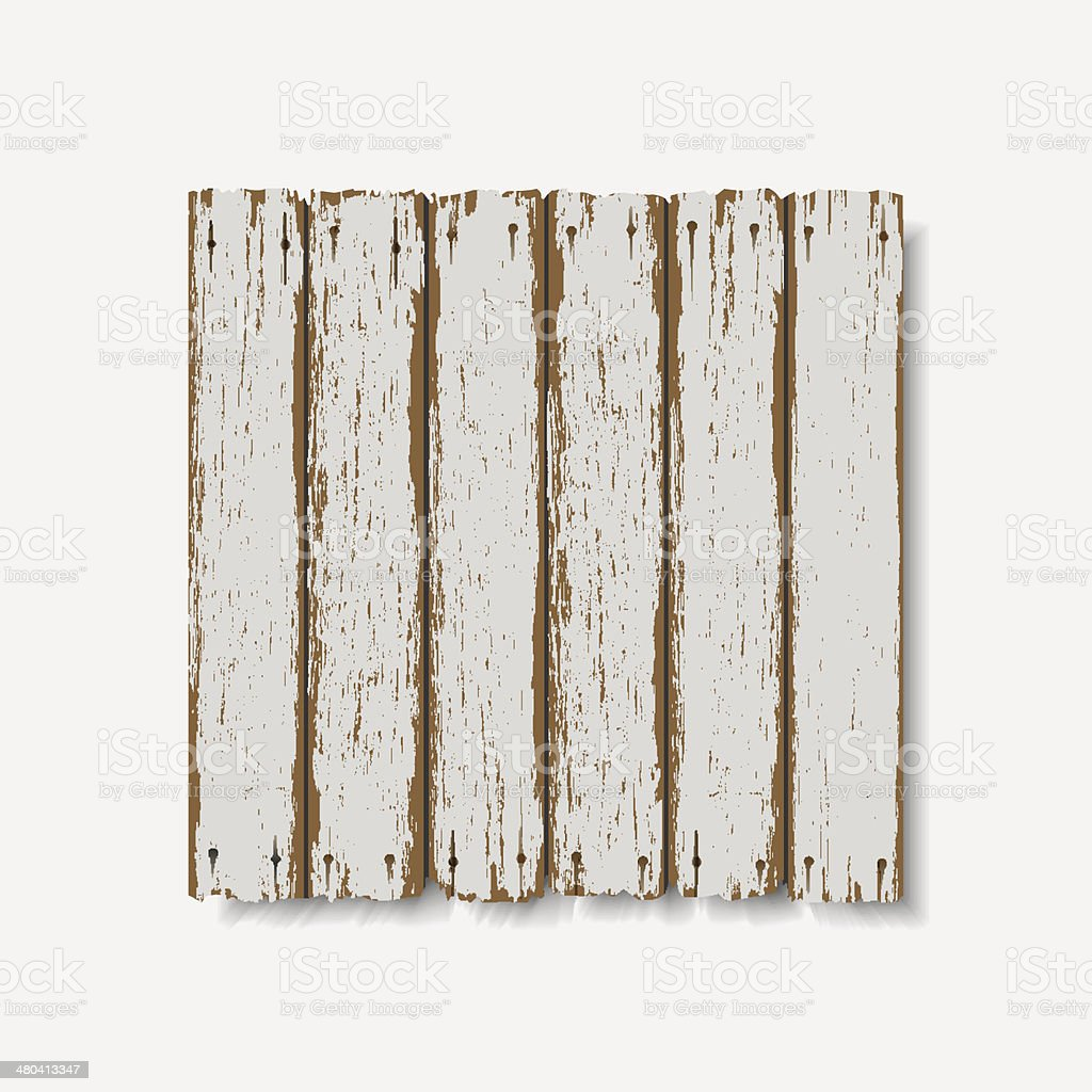 Old wooden fence vector art illustration