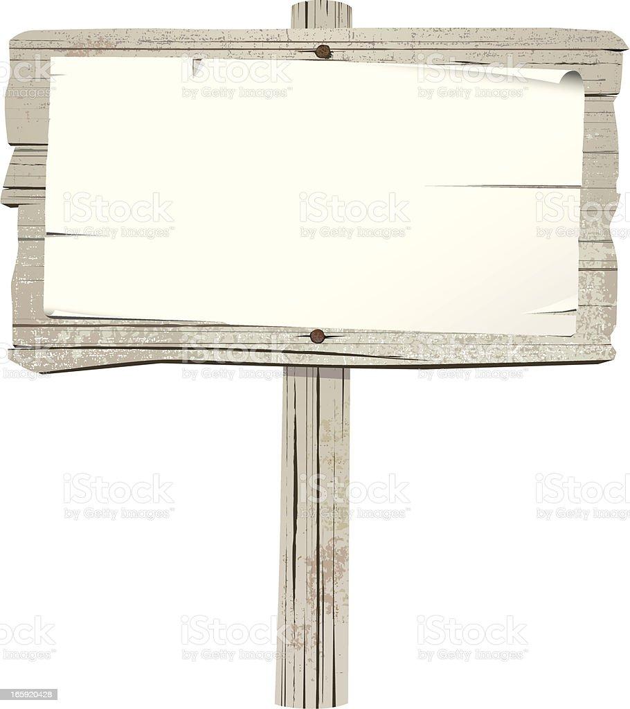 Old wooden sign on post vector art illustration