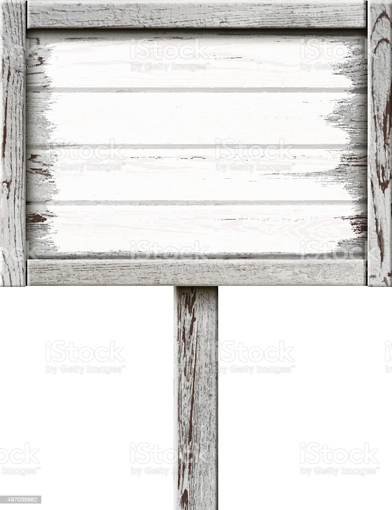 Old Wooden Sign Painted with White Paint vector art illustration