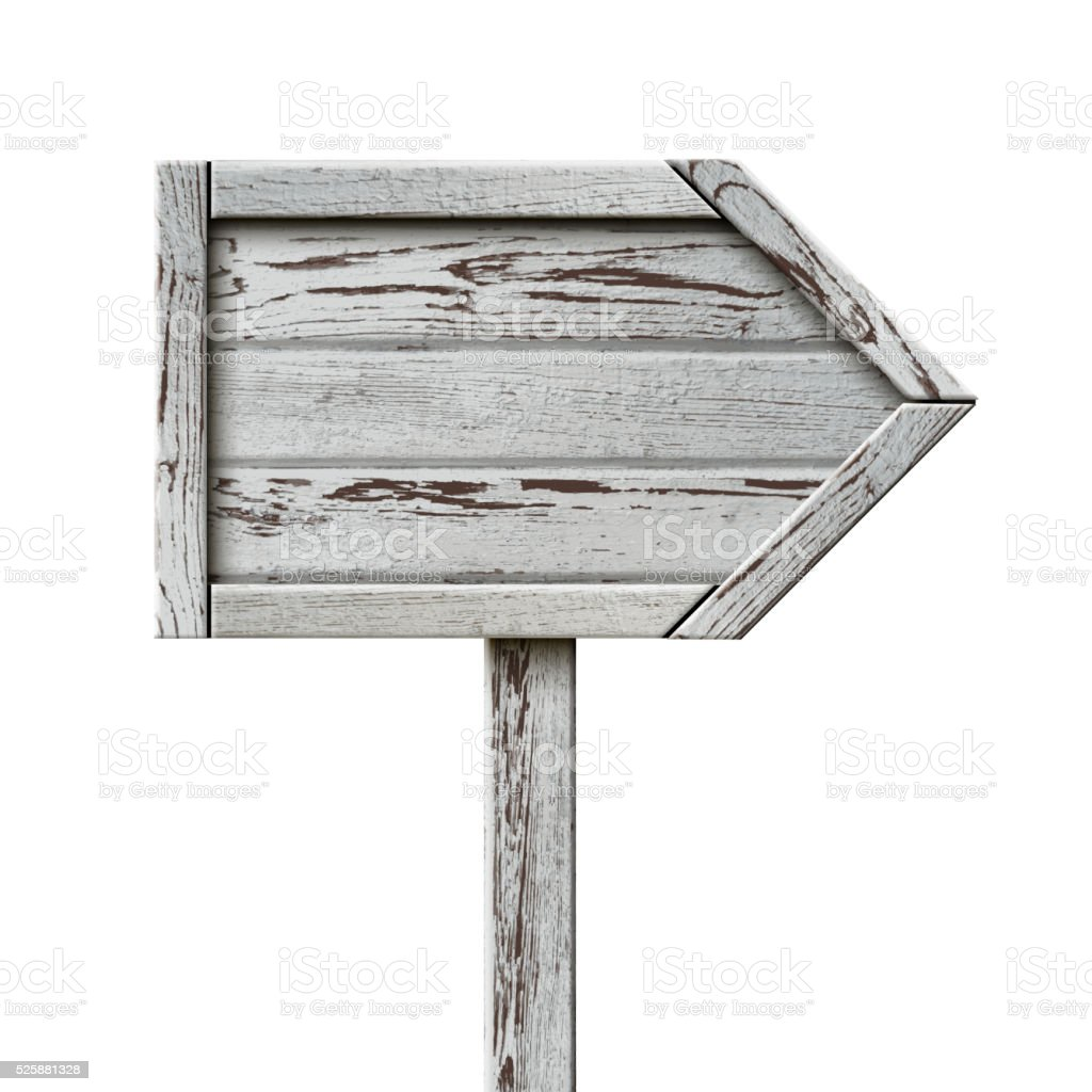 Old Wooden Sign Pointer vector art illustration