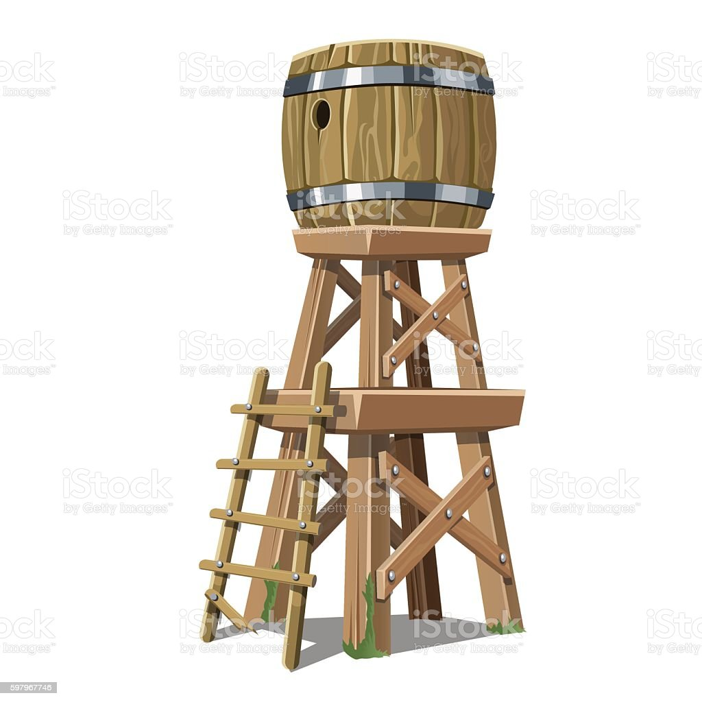 Old wooden water tower on white background vector art illustration