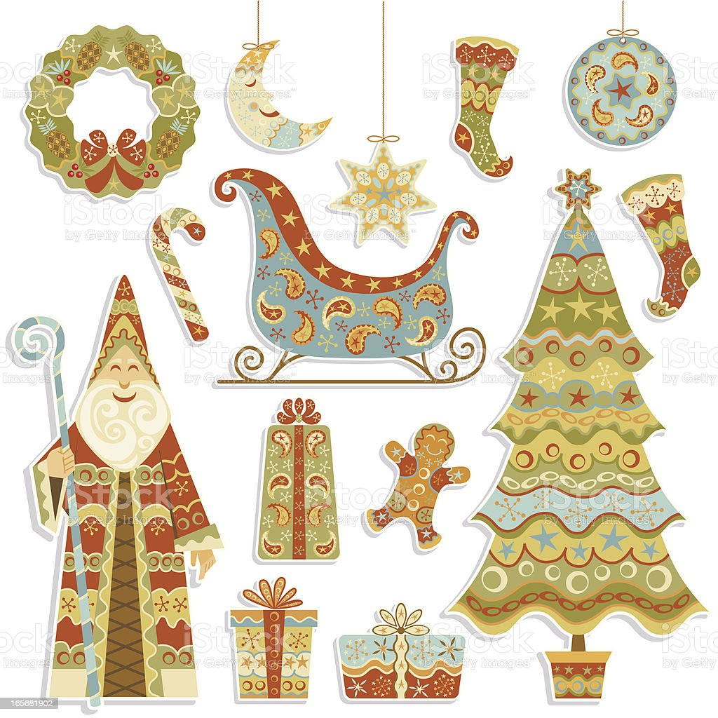 Old World Christmas Set royalty-free stock vector art