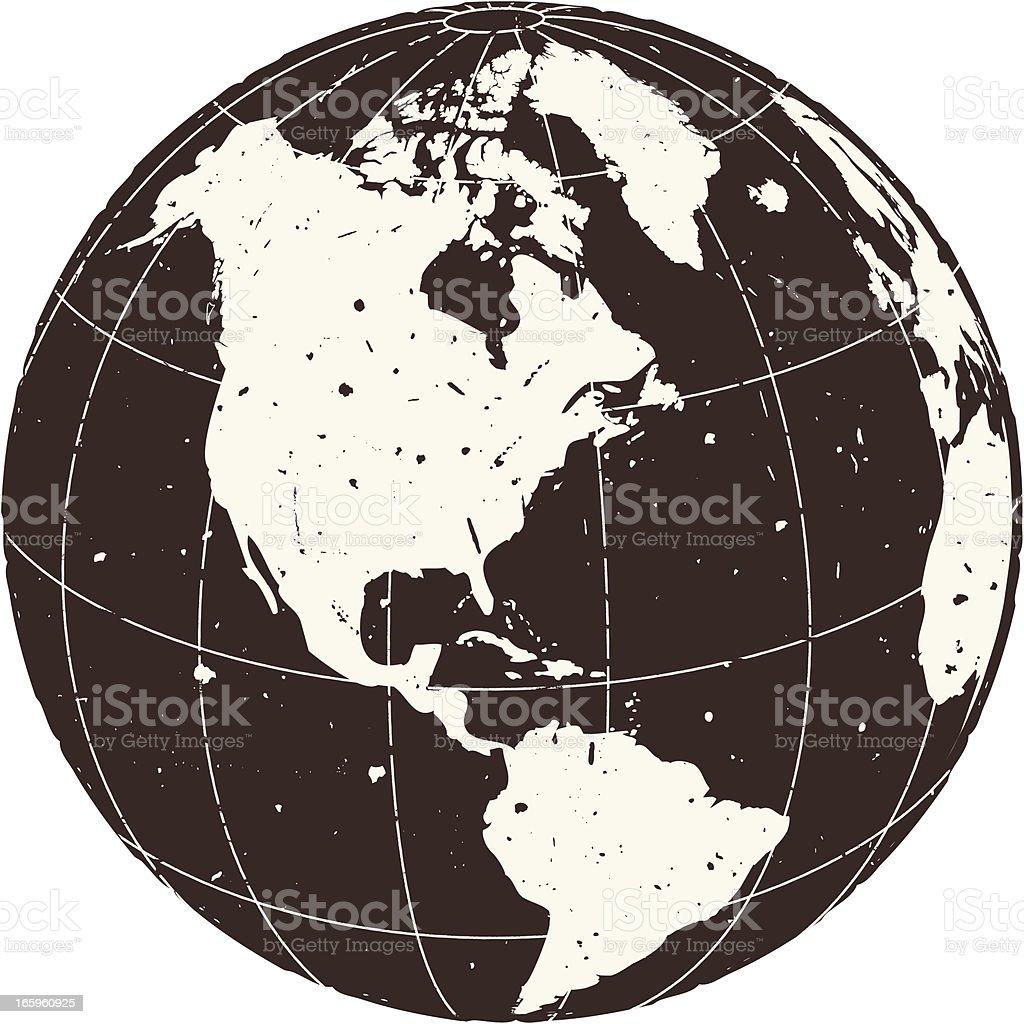 Old World Globe - America vector art illustration
