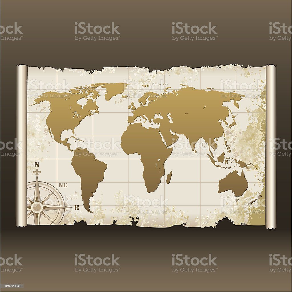 Old World Map on Scroll royalty-free stock vector art