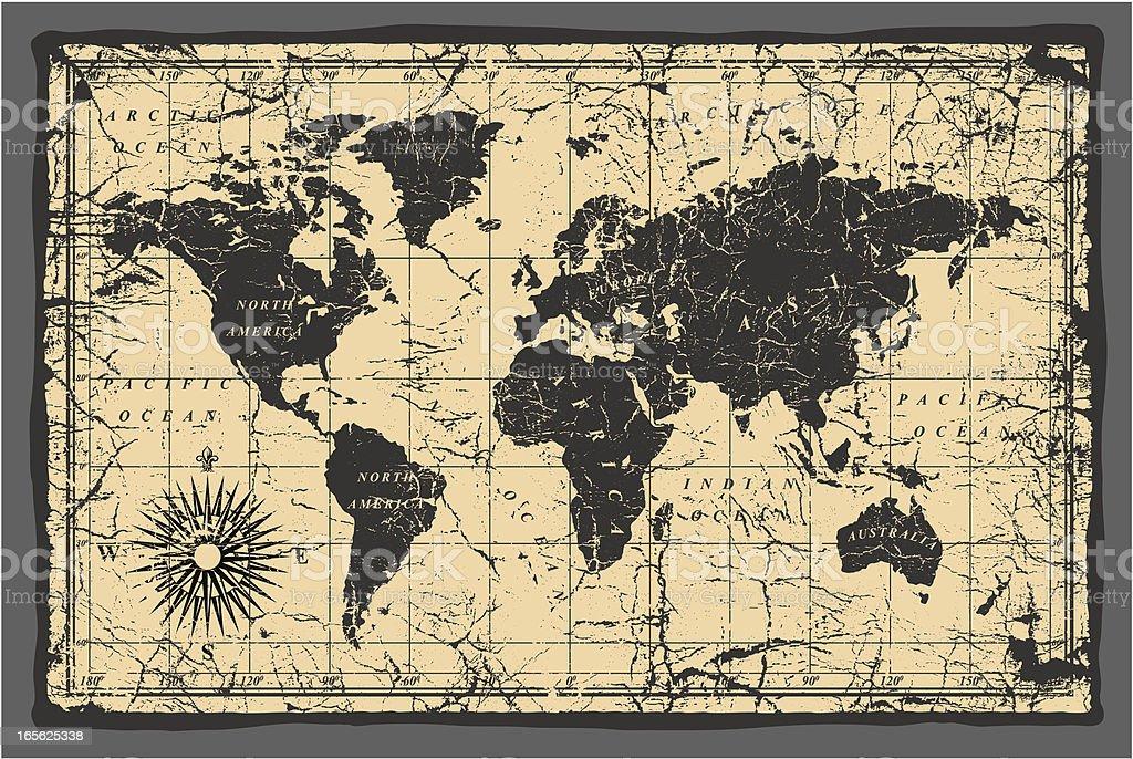 old world map vector art illustration
