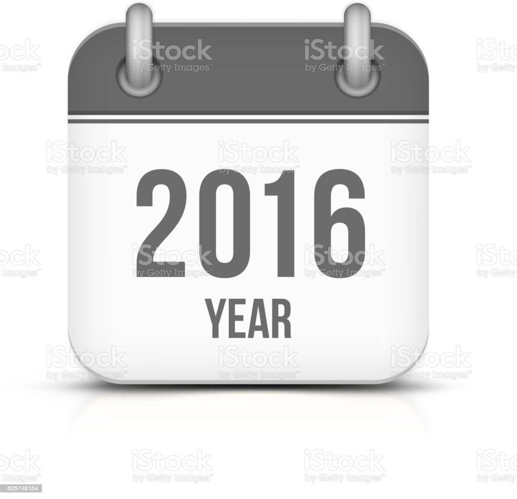 Old year 2016 monochrome calendar vector icon vector art illustration