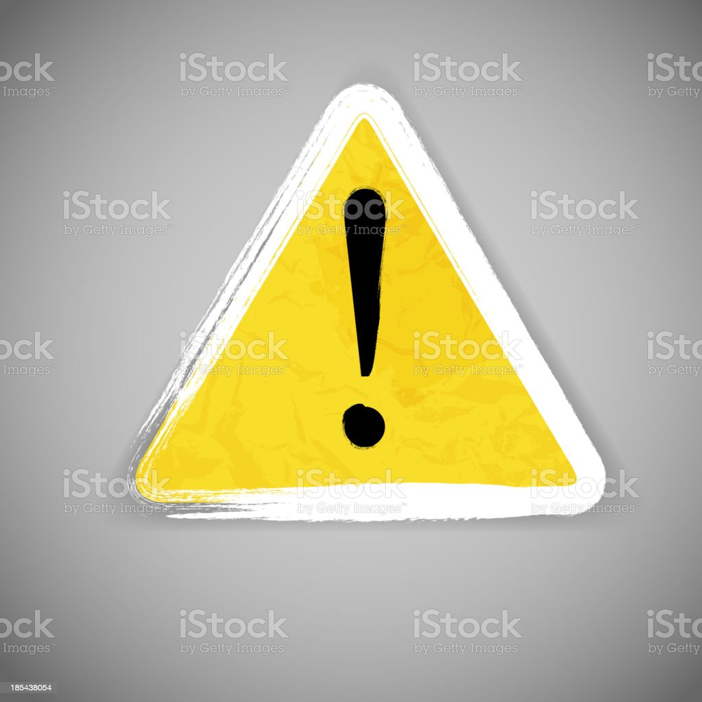 Old yellow attention road sign vector illustration royalty-free stock vector art