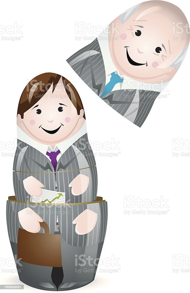 old young Business man stacking doll royalty-free stock vector art