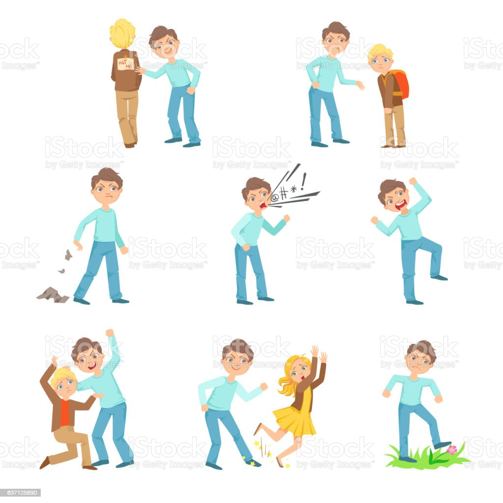 Older Boy Bullying Young Children And Behaving Badly Set vector art illustration