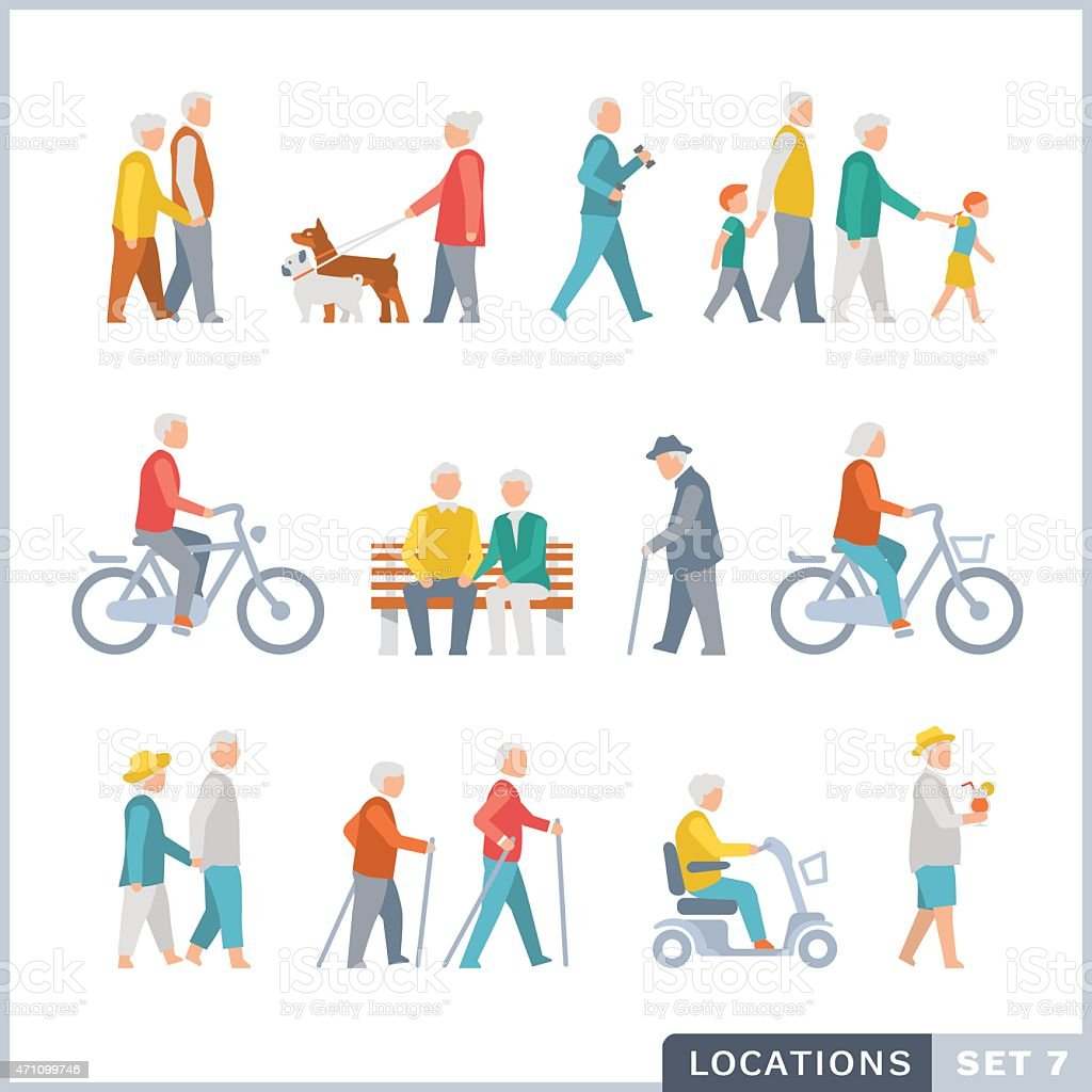 Older People on the street. Neighbors. vector art illustration